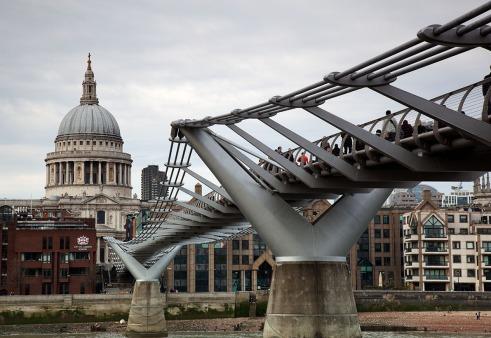 St Pauls and millenium bridge zoomed in
